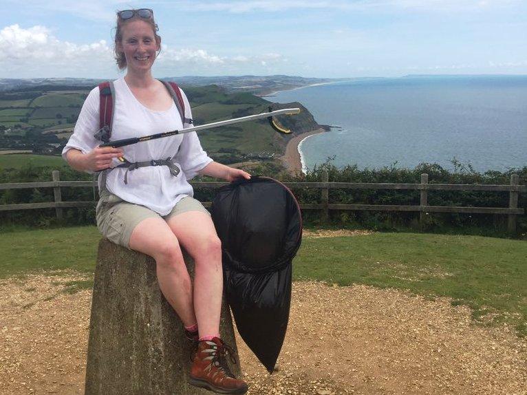 Charlie Wild, sponsored litter pick for WasteAid, Jurassic Coast 2017