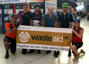 WasteAid UK fundraisers arrive at Waterloo Station in central London