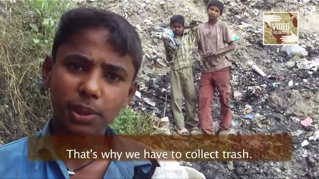 Indian children picking waste