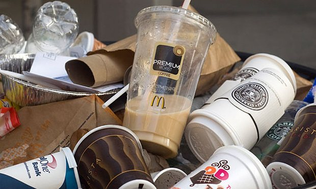An estimated 3bn coffee paper cups are thrown away in the UK every year, but it was revealed that fewer than one in 400 is recycled. Photograph: Guardian/Alamy