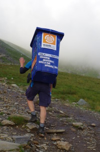 Andrew Jenkins climbed Mt Snowdon with a wheelie bin full of (recyclable) rubbish on his back, Walk for Waste 2016