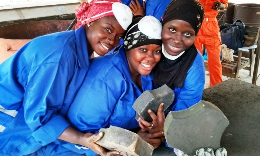 Women's Initiative The Gambia have learned how to turn plastic bags into paving tiles