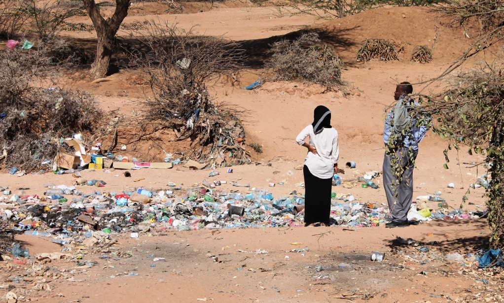 Unamanaged waste blights the desert landscape in Somaliland