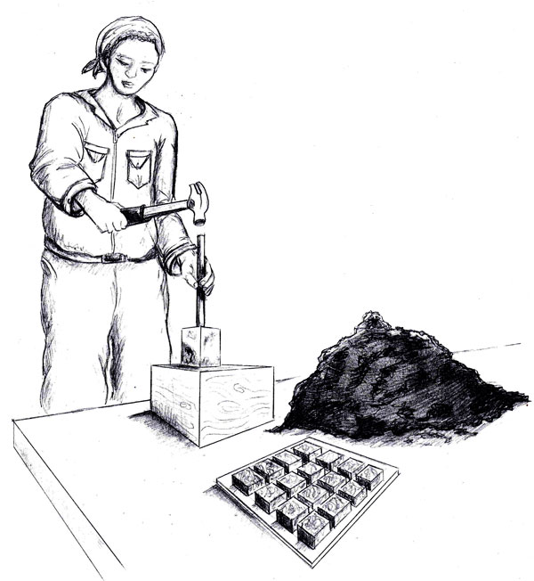 Illustration of charcoal briquette process