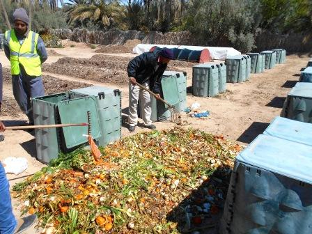 Composting facility in Degache (Tunisia) for biowaste from door to door collection and palm tree wastes.