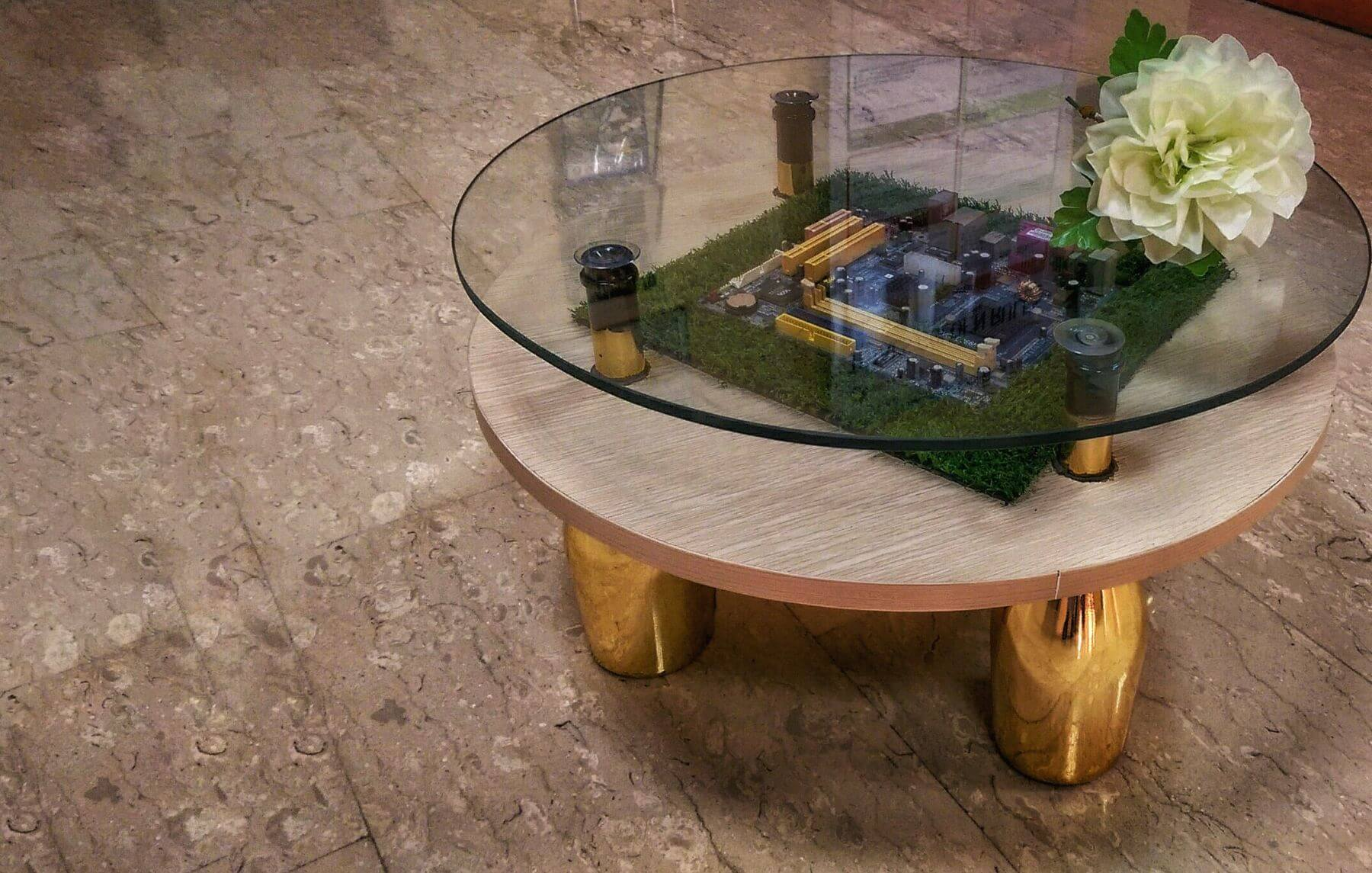 Bouteille coffee table, by Amina Saleh in Abuja, Nigeria