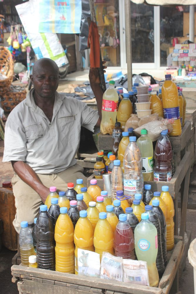 Plastic bottles are re-used for drinks in Douala, Cameroon