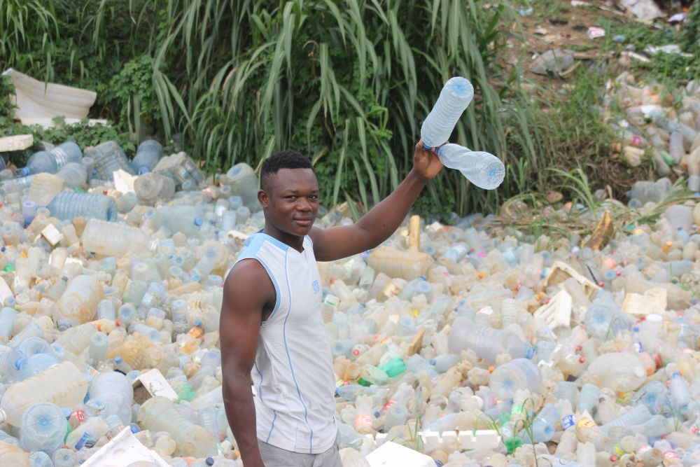 Plastic bottles have some re-use value in Douala, Cameroon