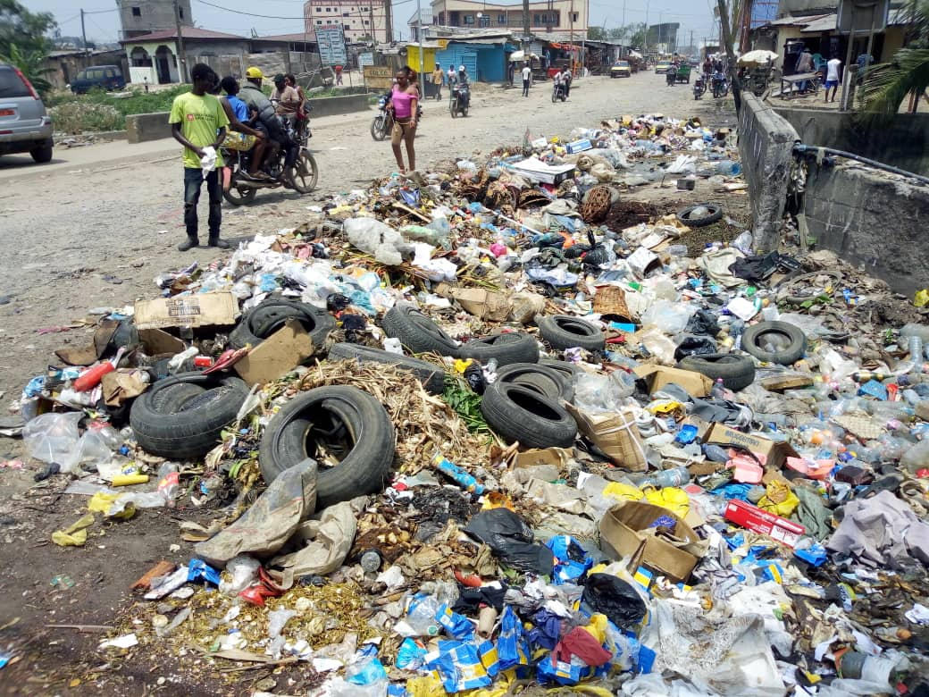 Waste builds up at the roadside in Douala, Cameroon
