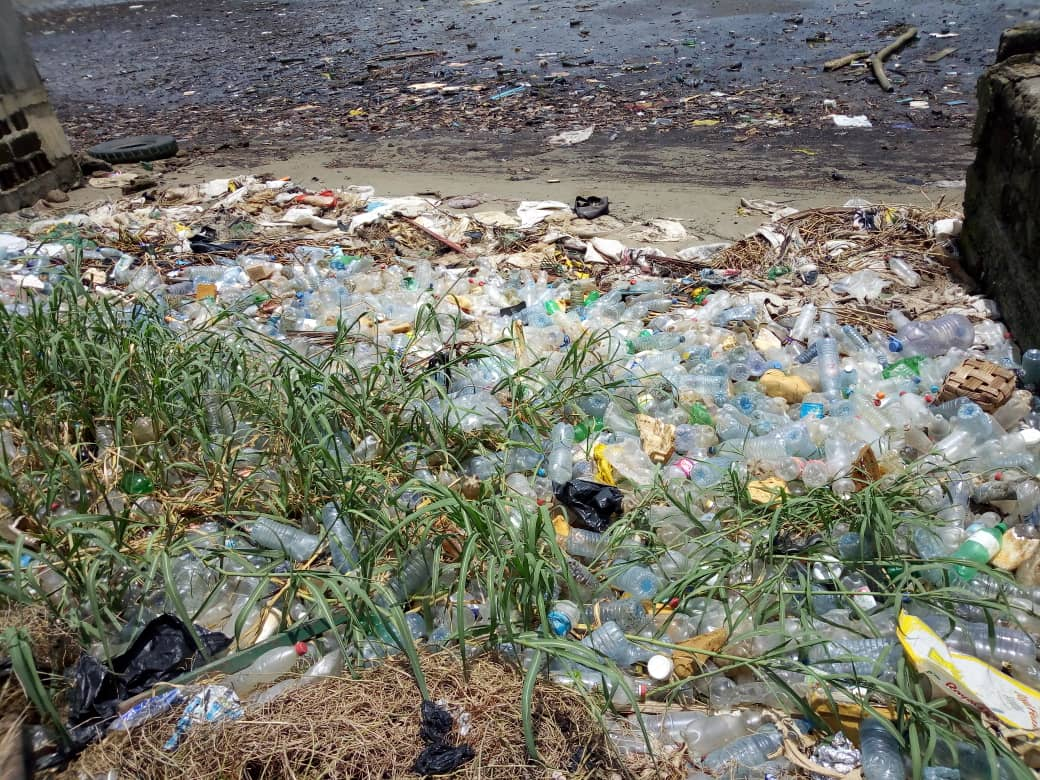 Plastic waste reaches the shore in Douala, Cameroon