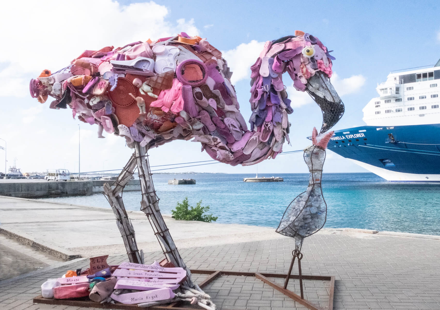 Plastic waste has been collected from local Caribbean beaches in Bonaire. The sculpture of the pink flamingo reminds us that we need to protect precious wildlife from plastic pollution, by Dr. Tania Dey