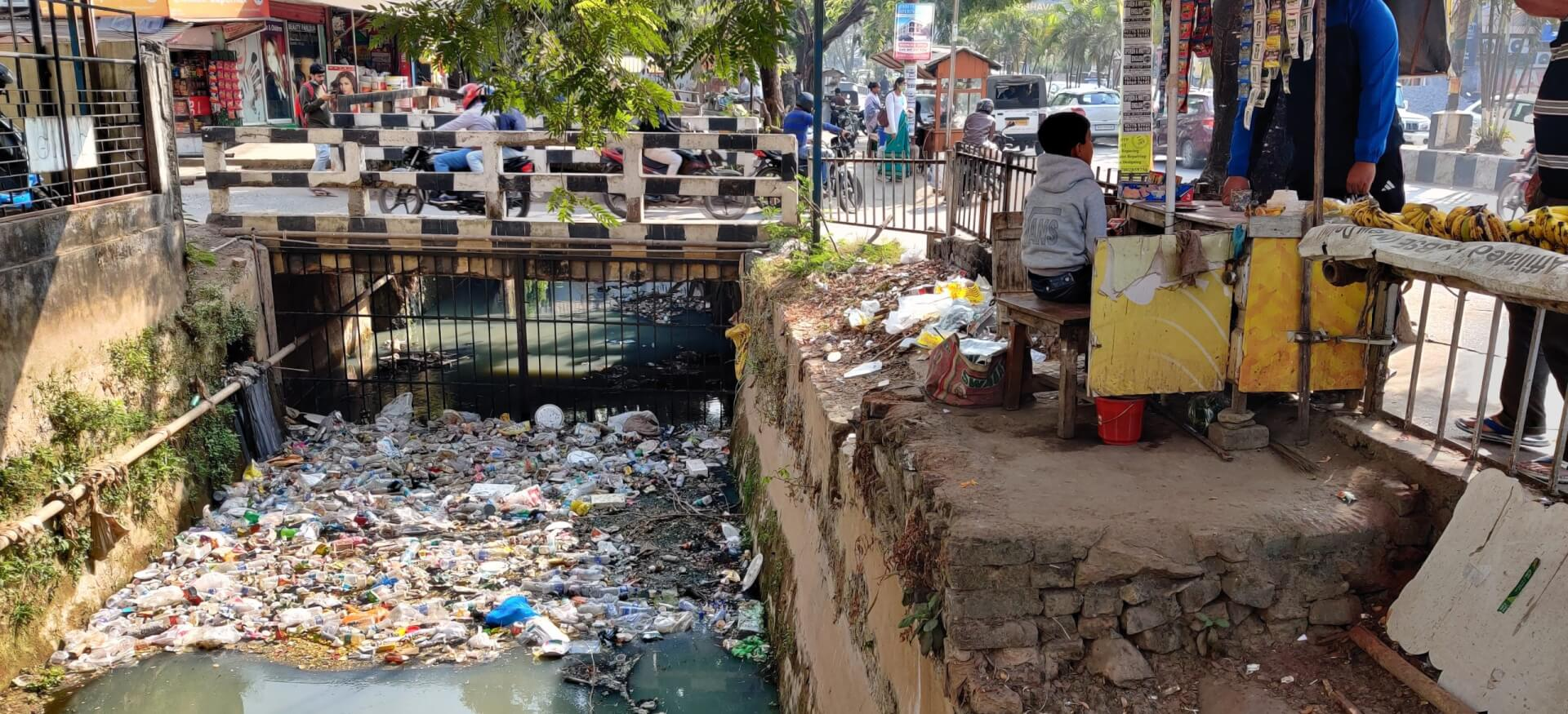 Plastic trapping system installed by Guwahati Municipal Corporation