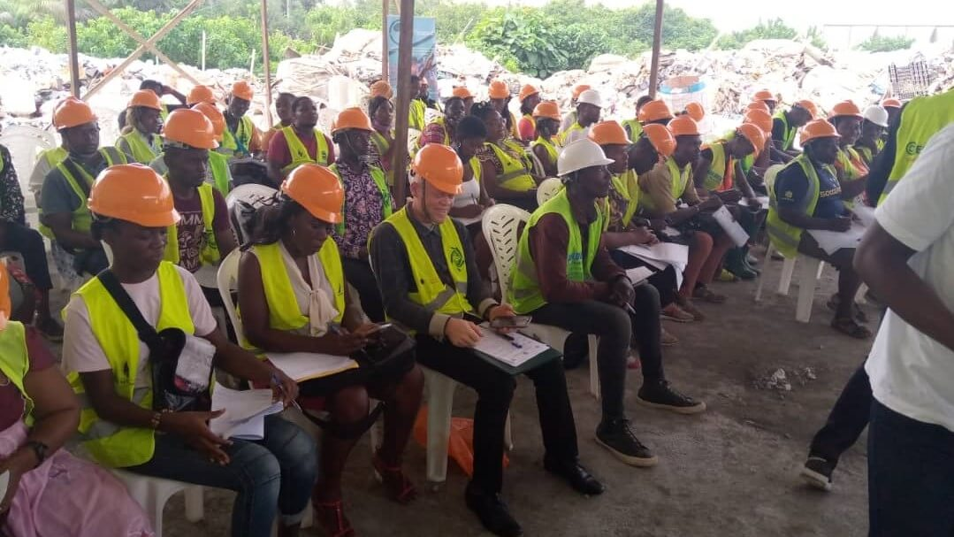 WasteAid plastic recycling trainees in Douala, Cameroon