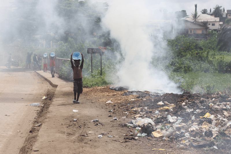 Burning waste in Douala, Cameroon