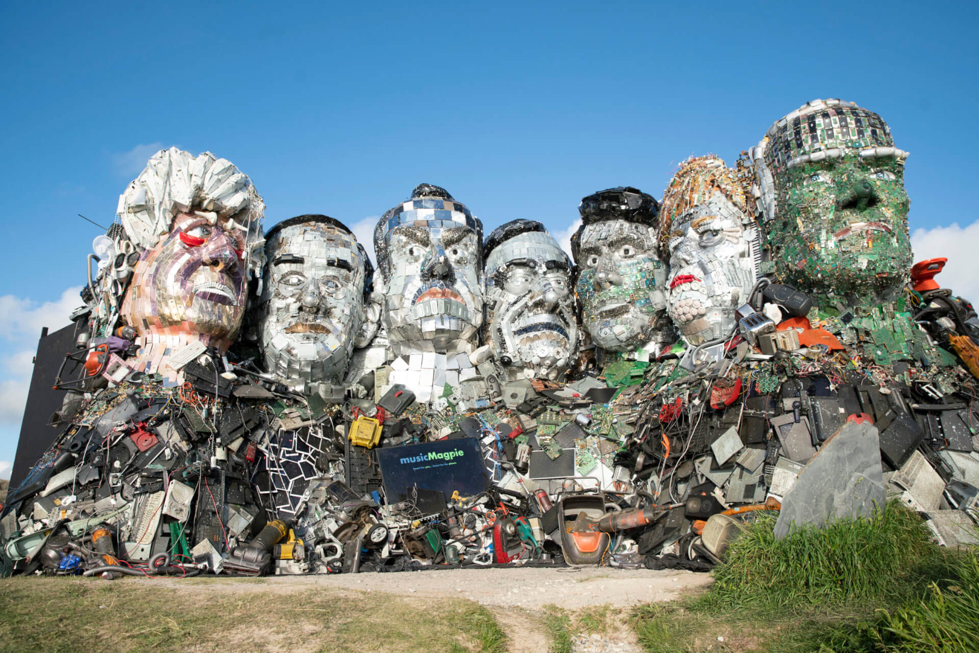 """E7 scultpure """"Mount Recyclemore"""" constructed from e-waste"""