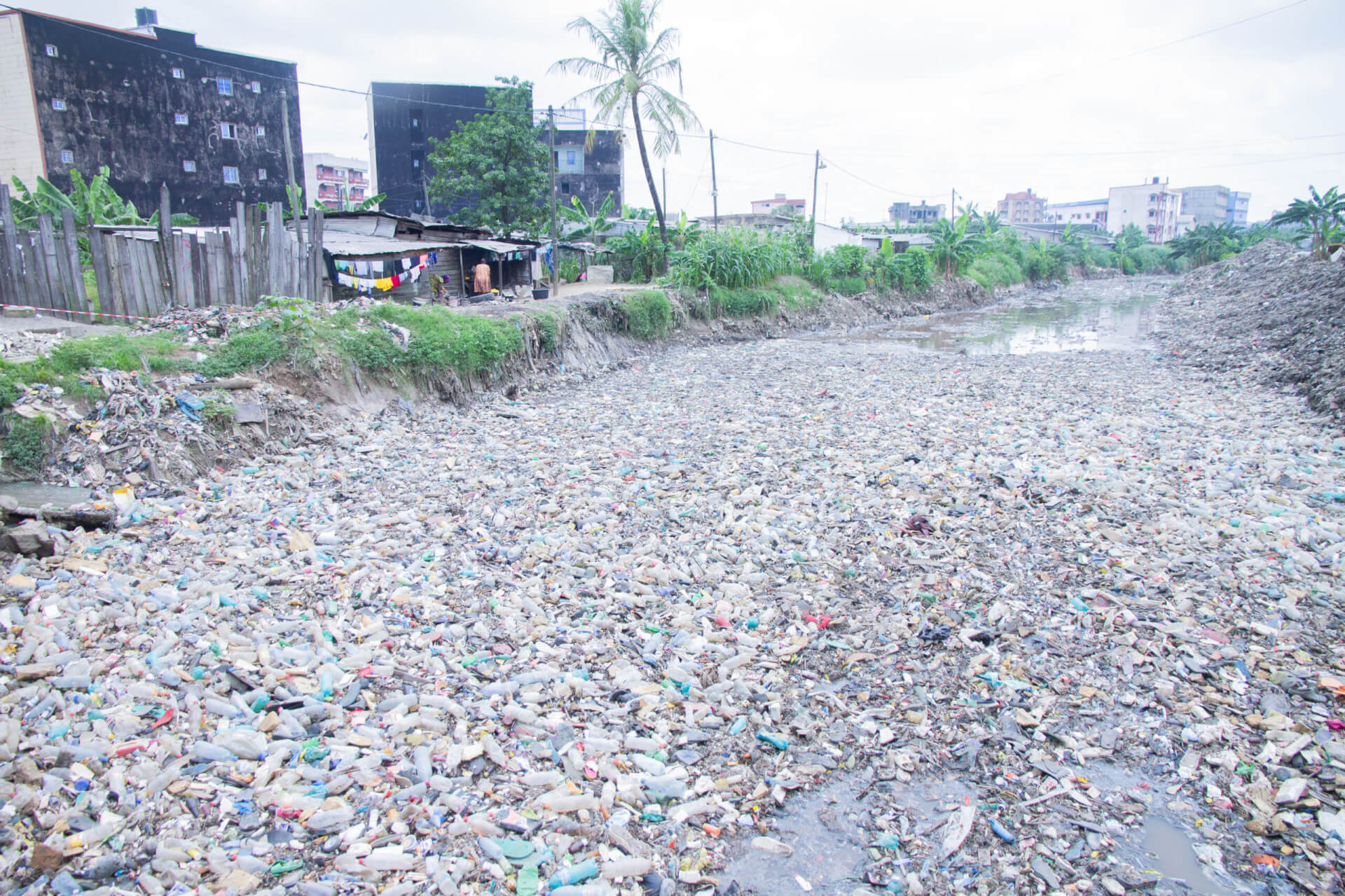 Rivers full of plastic waste flow through Douala and out to the Atlantic Ocean