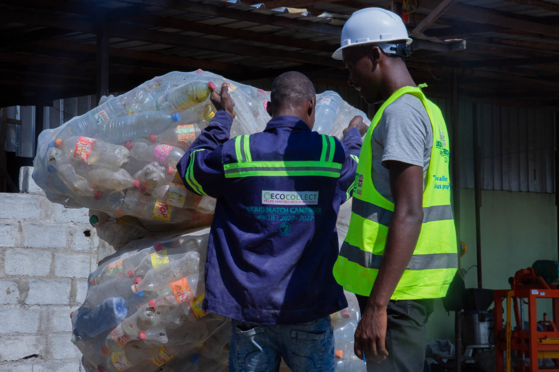 The sacks of plastic are weighed and recorded
