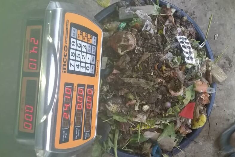 Food waste is weighed and recorded