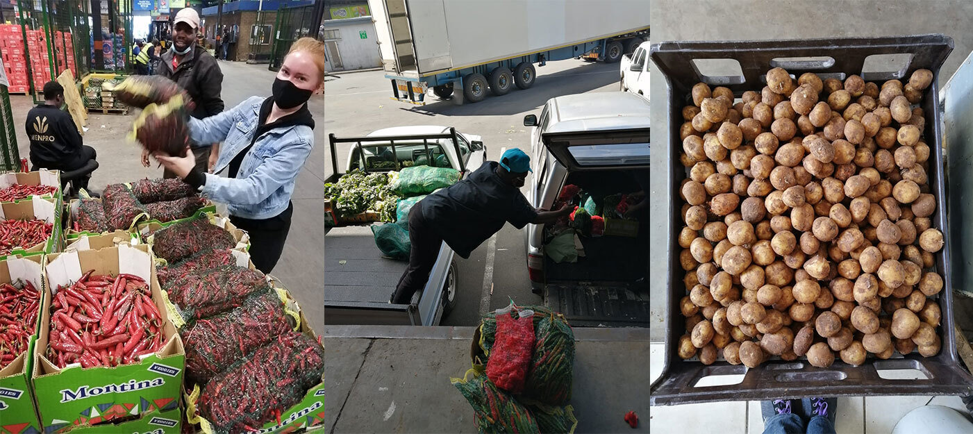 NOSH Food Rescue and volunteers recovering food from the market